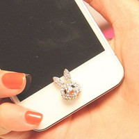 1 pcs  Bling Crystal Natural Shell Base Rabbit iPhone Home Button Sticker for iPhone 4,4s,4g, iPhone 5, iPad, Cell Phone Charm