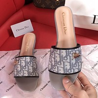 DIOR high D letter slippers summer new lazy slippers CD buckle embroidered metal buckle beach shoes Gray