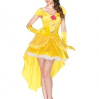 4 PC Yellow Enchanting Belle Costume @ Amiclubwear costume Online Store,sexy costume,women's costume,christmas costumes,adult christmas costumes,santa claus costumes,fancy dress costumes,halloween costumes,halloween costume ideas,pirate costume,dance cos