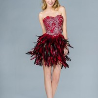 Sexy Birthday Short Prom Dress Formal Feather Red Carpet Mardi Gras Homecoming