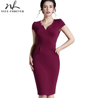 Career Female Fashion V Neck Solid Stretch Zip Brief Dresses Vintage Bodycon Pencil business Work Wear Summer Vintage Dress 737