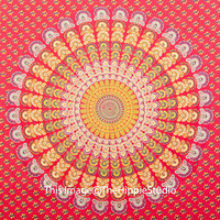 Red Mandala Tapestries, Hippie Tapestries, Tapestry Wall Hanging, Bohemian Tapestries, Wall Tapestries, Indian Tapestry, Dorm Decor Bedding