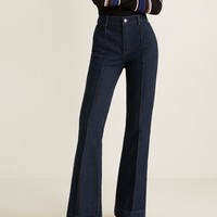 Decorative seam flared jeans - Woman | MANGO Denmark