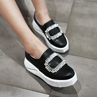 Rhinestone Women Wedges Loafers Platform Shoes