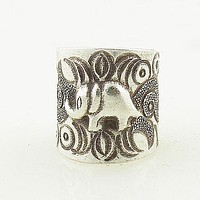 Elephant Sterling Silver Jungle Patterns Animal Wrap Ring