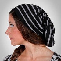 Striped Slouch Knit Beanie