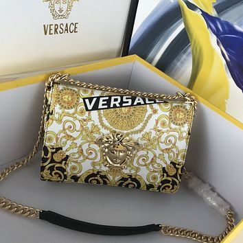 VERSACE WOMAN'S LEATHER Frosted HOT DRILL INCLINED CHAIN SHOULDER BAG