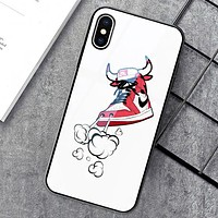 NIKE & Jordan & Off White New fashion letter hand shoes arrow hook print couple glass shell phone case protective case