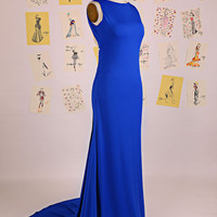 Royal Blue Scoop Lace Backless Mermaid Prom Dress/Mermaid Evening Gown/Sexy Open Back Prom Dress/Blue Lace Mermaid Prom Dress DAF0069