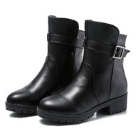 Motorcycle Boots Ladies Vintage Buckle Combat Army Punk Goth Half Short Flats Shoes  boots Size 35-39