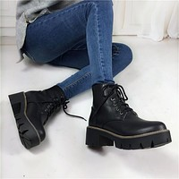 BOOTS SHOES Women's Punk Doc Martin Style (4 colors) thick or thin fur