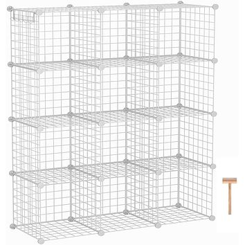 "C&AHOME Wire Cube Storage Organizer, 12-Cube Storage Shelf, Storage Bins, Modular Bookshel Shelving, DIY Closet Cabinet Ideal for Living Room, Bedroom, Office 36.6""L x 12.4""W x 48.4""H White"