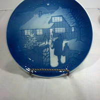 Danish Christmas Plate Vintage Christmas Decor Blue and White Collector Plate from Copenhagen Denmark Collectible Plate