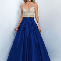Plunging V-Neckline Prom Ball Gown by Blush Pink 5524