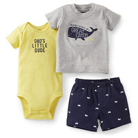 Carter's Boys 3 Piece Set with 'Dad's Little Dude' Bodysuit, 'Mommy's Great Catch' T Shirt, and Whale Print Shorts