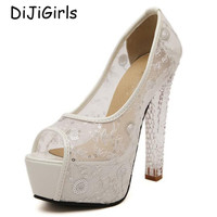 Sexy pumps chunky sandals Platform Shoes open toe High Heels Crystal Women Pumps Sapatos Femininos white wedding shoes Y593