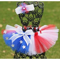Summer 4th Of July Red White & Blue Tutu With Headband