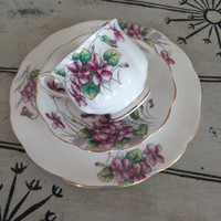 Vintage Royal Albert Bone China Teacup Flower of the Month Series Violets February Birthday Gift Cottage Chic Floral Tea Cup Cup and Saucer
