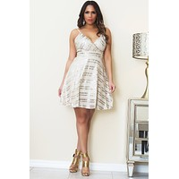 Gail Spaghetti Strap Fit-and-Flare Sequined Dress In Taupe Gold