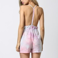 Tie Dye Cross V neck Open Back Summer Romper