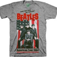 The Beatles 1964 American Tour Poster Licensed Adult T-Shirt - Grey - S