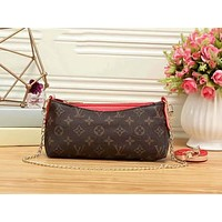 LV Women Shopping Leather Metal Chain Crossbody Satchel Shoulder Bag Red I-LLBPFSH