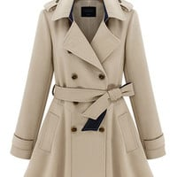 Notched Collar Belted Long Sleeve Trench Coat with Epaulet