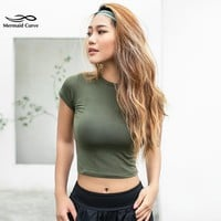Mermaid Curve Women Yoga Shirts Sexy Sports Top  Fitness Crop Top Solid Running Tight T-shirts Gym Clothes Tank Tops Sportswear