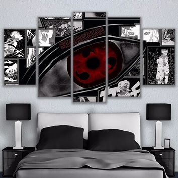 Naruto Sasauke ninja Modular Wall Art Pictures Canvas HD Printed Anime Painting 5 Pieces  Sharingan Poster Modern Home Decor Room Cartoon art AT_81_8