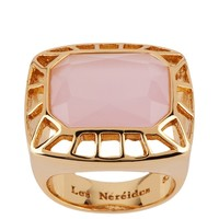 Les Néréides GEOMETRICAL FINERY PINK AND GOLD FRAME RING
