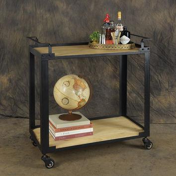 Wood and Black Iron Bar Trolley