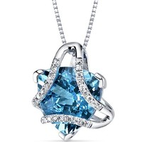 """Sterling Silver Blue Pressed Flower Heart Pendant Necklace, 16"""""""