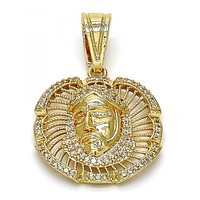 Gold Layered 05.120.0038 Religious Pendant, Jesus Design, with White Micro Pave, Polished Finish, Golden Tone