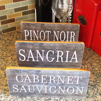 """WINE SIGN With STAND, Charcoal Gray Distressed Wood Style, Choose Your Wine, 5""""x10""""  Tuscan Decor, Cabinet Decor, Bar Sign, Made To Order"""