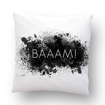 """BAAAM! Abstract minimalism. Monochrome throw pillow. Hand painted cotton pillow cover. 20"""" x 20"""""""