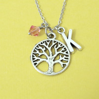 Personalized, Birthstone, Letter, Initial, Tree of life, Silver, Necklace, Tree, Life, Family, Necklace, Birth, Stone, Jewelry, Gift