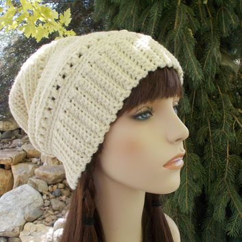 Long Winter Souchy Beanie in Ivory / Off White
