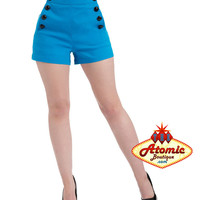 Voodoo Vixen Blue Bengaline High Waisted Shorts