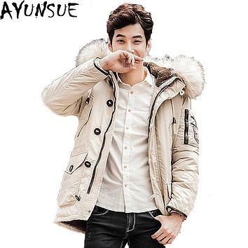 AYUNSUE 2017 Men's Winter Long Down Jacket 100% Wool Collar Hooded Thick Male's Coat Plus size 4XL Man's Duck Down Coats ST050