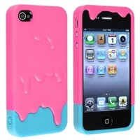 Funny Pink and Blue Separable Two Parts Melt Ice Cream Skin Hard Case Cover for iPhone 5/5s