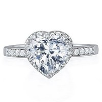 Bling Jewelry 925 Sterling Silver CZ Heart Ring
