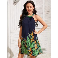 Tropical Print Tie Back Halter Tunic Dress