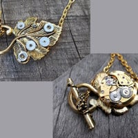 """The """"Golden Leaf of Time"""" Clockpunk Steampunk Reversible Necklace Watch Movement & Antiqued Brass Leaf  Pendant on Brass Cable Link Chain"""