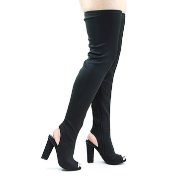 Sunlight02 Over Knee Thigh High Boots Block Heel In Plain, Glitter & Leopard