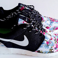custom nike free roshe black run athletic women shoes with fabric flowers,crystal swarovski or both