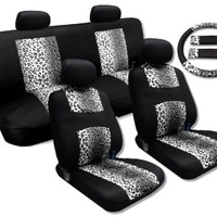 13 Piece Supreme Mesh Safari Leopard Spots Print Seat Covers Thick Padded Comfort - Front & Rear Steering Wheel Seat Belt Covers (Snow Grey Leopard)