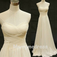 Champagne Cross Ruffled Sweetheart Strapless Empired long Bridesmaid Dress ,Chiffon Formal Evening Party Events Prom Dress Homecoming Dress