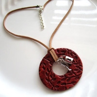 Aroma Therapy Diffuser Necklace Burgundy w/Leaf Design Lock & Key Charms on Tan Suede Cord Beautiful OOAK Handmade Clay Oil Diffuser Pendant
