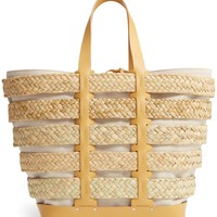 paco rabanne Cage Straw & Canvas Tote | Nordstrom