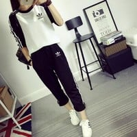 """Adidas"" Women Sport Casual Multicolor Stripe Long Sleeve Trousers Set Two-Piece Sportswear"